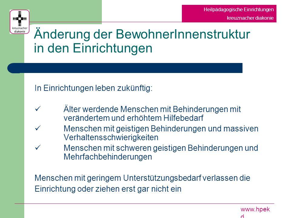 Hilfen aus einer Hand - das Hochzonungsprogramm des Landschaftsverbandes Rheinland Heilpädagogische Einrichtungen kreuznacher diakonie www.hpek d Optimal: Hilfen aus einer Hand für Menschen mit Behinderungen angesiedelt auf überregionaler Ebene Vorteile: Gesamtübersicht Gesamtplanungsverantwortung Flächendeckende vergleichbare Versorgung Bündelung von Spezialangeboten Landesweit einheitliche Qualitätsstandards