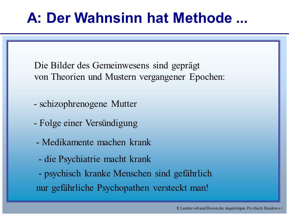 © Landesverband Hessen der Angehörigen Psychisch Kranker e.v. Die Bilder des Gemeinwesens sind geprägt von Theorien und Mustern vergangener Epochen: -