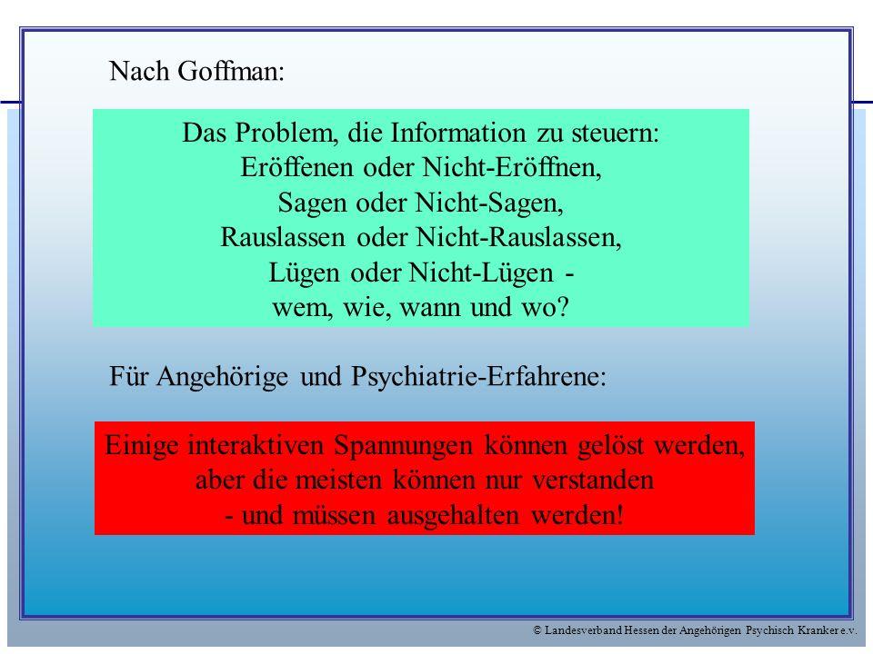 © Landesverband Hessen der Angehörigen Psychisch Kranker e.v. Das Problem, die Information zu steuern: Eröffenen oder Nicht-Eröffnen, Sagen oder Nicht