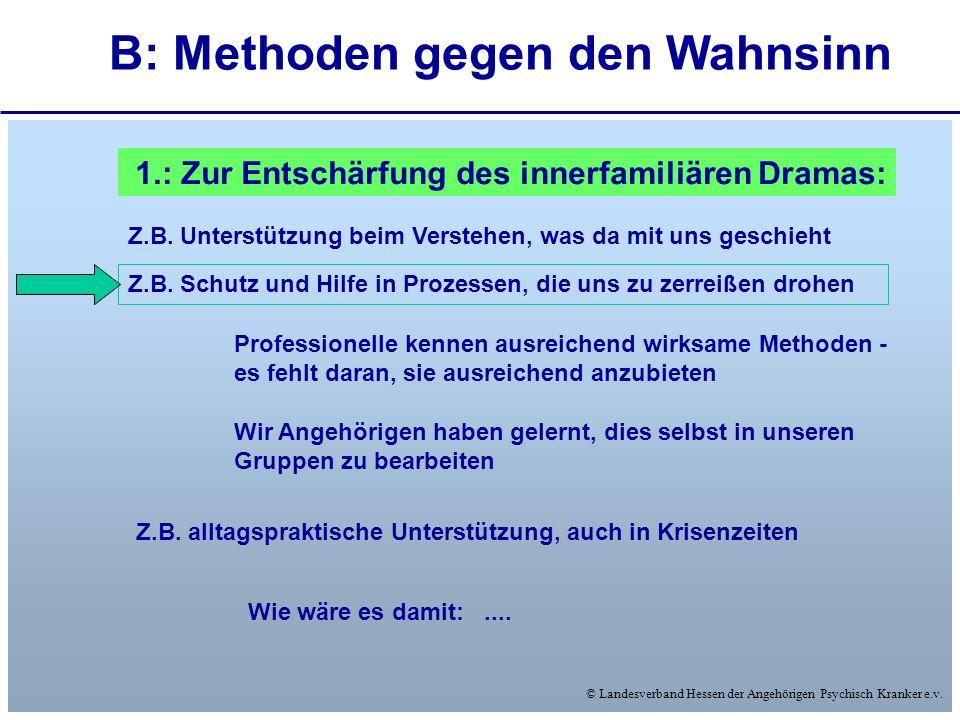 © Landesverband Hessen der Angehörigen Psychisch Kranker e.v. B: Methoden gegen den Wahnsinn 1.: Zur Entschärfung des innerfamiliären Dramas: Z.B. Unt