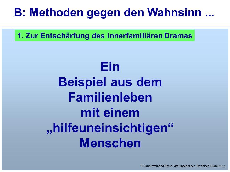 © Landesverband Hessen der Angehörigen Psychisch Kranker e.v. B: Methoden gegen den Wahnsinn... Ein Beispiel aus dem Familienleben mit einem hilfeunei