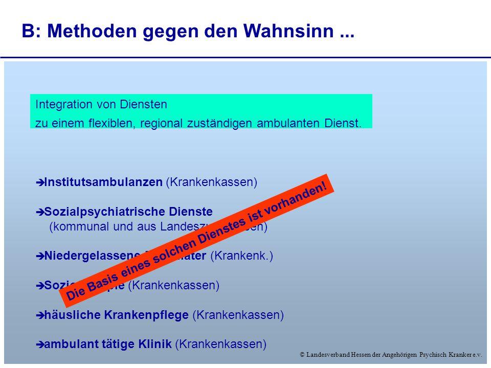 © Landesverband Hessen der Angehörigen Psychisch Kranker e.v. Integration von Diensten zu einem flexiblen, regional zuständigen ambulanten Dienst. Ins