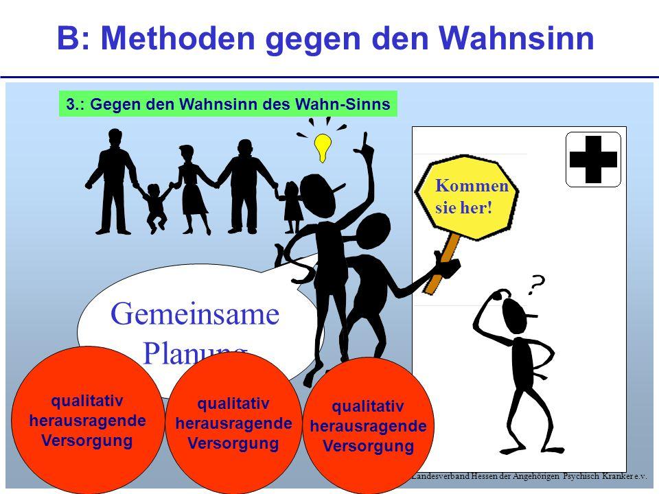 © Landesverband Hessen der Angehörigen Psychisch Kranker e.v. B: Methoden gegen den Wahnsinn Kommen sie her! Gemeinsame Planung qualitativ herausragen