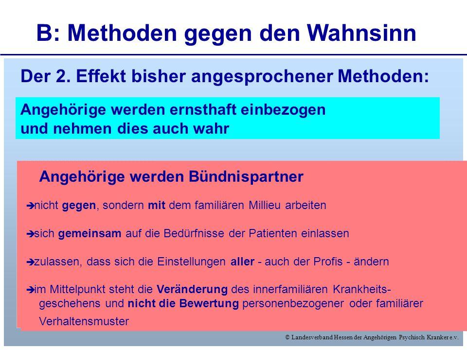 © Landesverband Hessen der Angehörigen Psychisch Kranker e.v. B: Methoden gegen den Wahnsinn nicht gegen, sondern mit dem familiären Millieu arbeiten