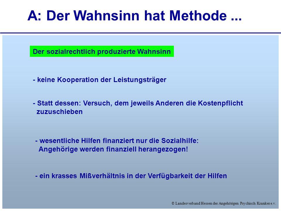 © Landesverband Hessen der Angehörigen Psychisch Kranker e.v. A: Der Wahnsinn hat Methode... Der sozialrechtlich produzierte Wahnsinn - keine Kooperat
