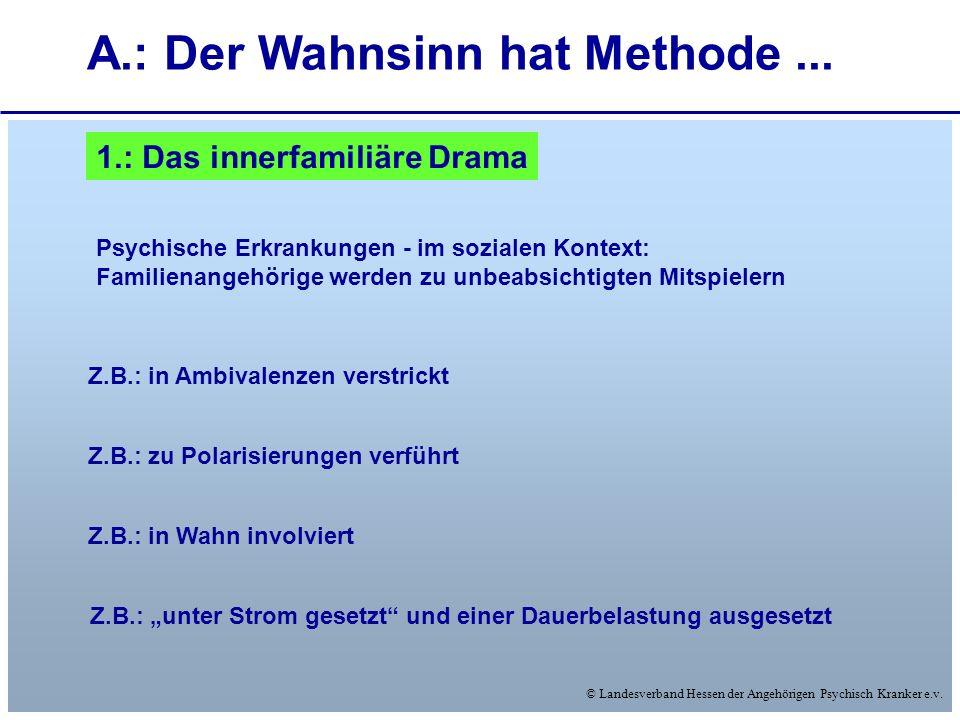 © Landesverband Hessen der Angehörigen Psychisch Kranker e.v. A.: Der Wahnsinn hat Methode... 1.: Das innerfamiliäre Drama Psychische Erkrankungen - i