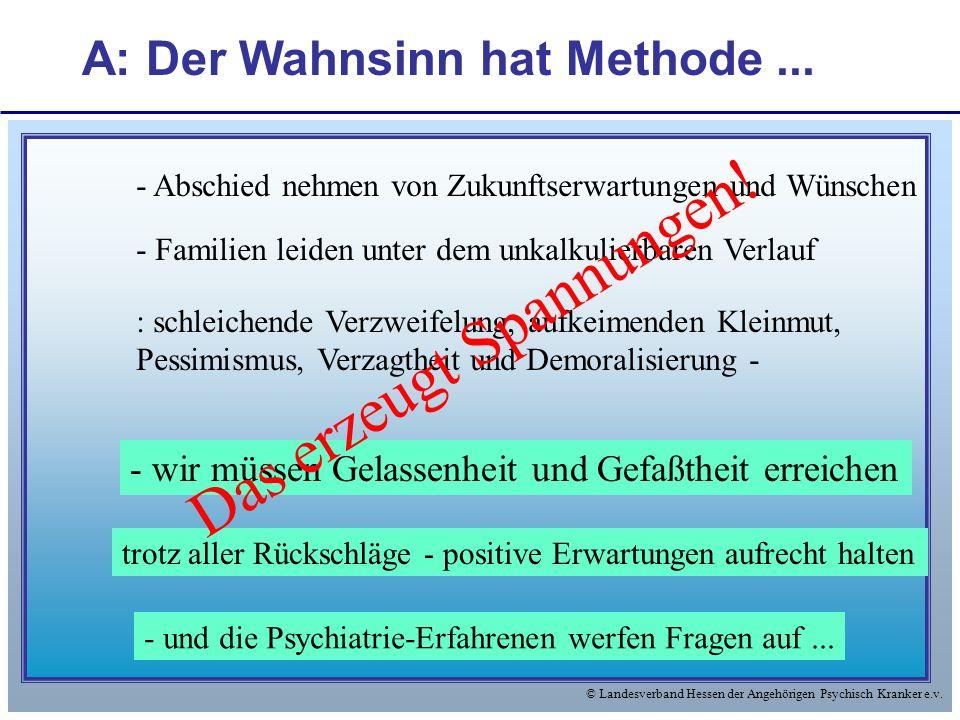 © Landesverband Hessen der Angehörigen Psychisch Kranker e.v. A: Der Wahnsinn hat Methode... - Abschied nehmen von Zukunftserwartungen und Wünschen -