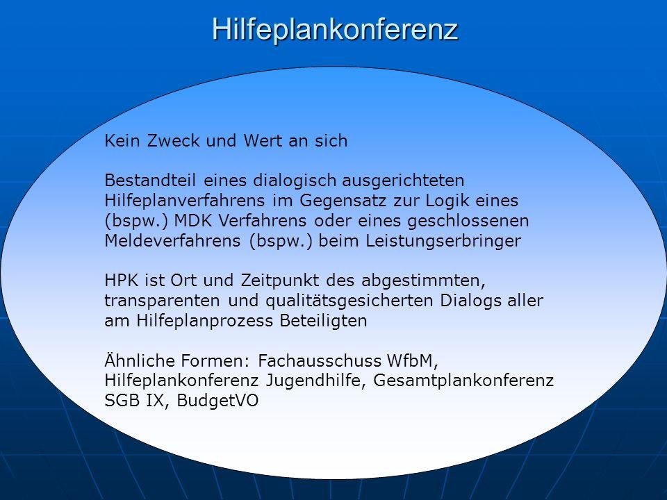 Hilfeplankonferenz Kein Zweck und Wert an sich Bestandteil eines dialogisch ausgerichteten Hilfeplanverfahrens im Gegensatz zur Logik eines (bspw.) MDK Verfahrens oder eines geschlossenen Meldeverfahrens (bspw.) beim Leistungserbringer HPK ist Ort und Zeitpunkt des abgestimmten, transparenten und qualitätsgesicherten Dialogs aller am Hilfeplanprozess Beteiligten Ähnliche Formen: Fachausschuss WfbM, Hilfeplankonferenz Jugendhilfe, Gesamtplankonferenz SGB IX, BudgetVO