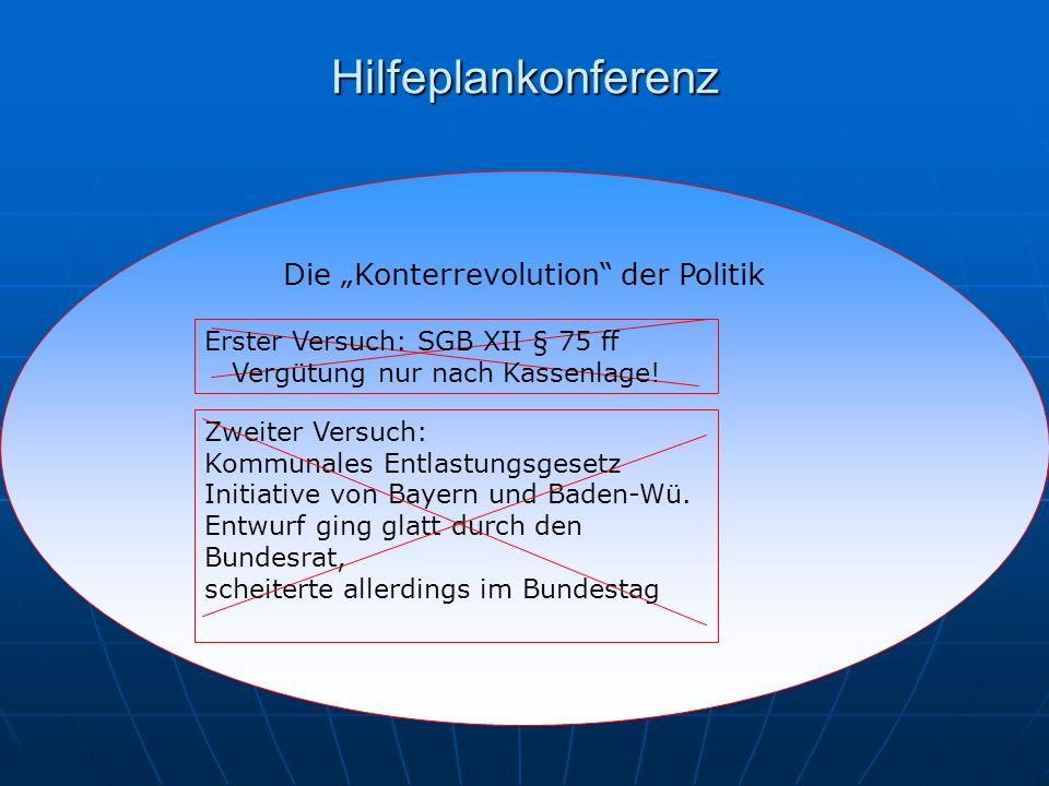 Hilfeplankonferenz Die Konterrevolution der Politik Erster Versuch: SGB XII § 75 ff Vergütung nur nach Kassenlage.