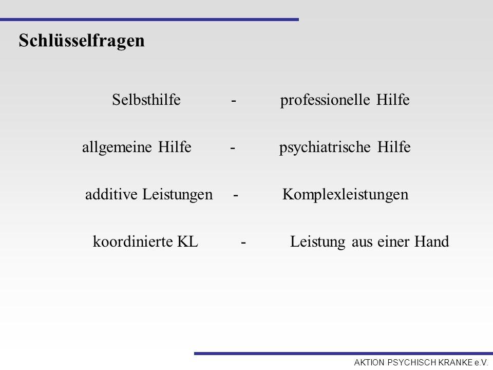 AKTION PSYCHISCH KRANKE e.V. Schlüsselfragen Selbsthilfe-professionelle Hilfe allgemeine Hilfe-psychiatrische Hilfe additive Leistungen-Komplexleistun
