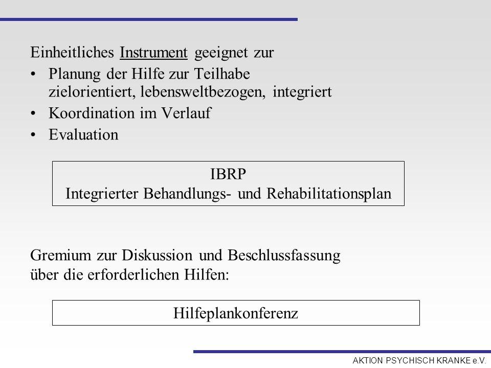 AKTION PSYCHISCH KRANKE e.V. Einheitliches Instrument geeignet zur Planung der Hilfe zur Teilhabe zielorientiert, lebensweltbezogen, integriert Koordi