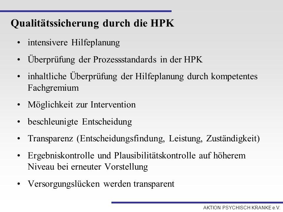 AKTION PSYCHISCH KRANKE e.V. Qualitätssicherung durch die HPK intensivere Hilfeplanung Überprüfung der Prozessstandards in der HPK inhaltliche Überprü
