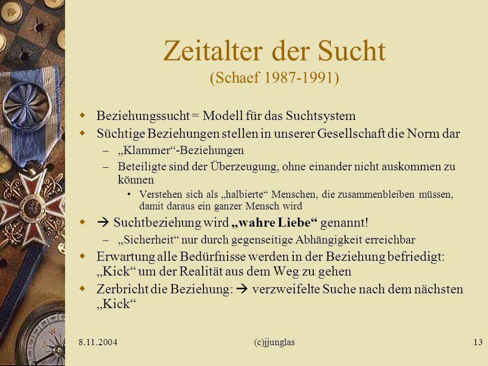 8.11.2004(c)jjunglas12 Modus der Sucht (Mentzos 1982) Verleugnung der Realität Künstliche Veränderung des Selbsterlebens Verschmelzung mit einem Ersat
