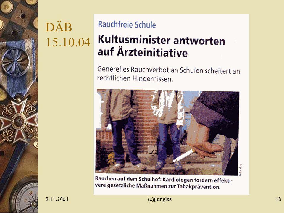 8.11.2004(c)jjunglas17 Früh auf- tretender Tabak- missbrauch Modellsucht Nikotinabhängigkeit.