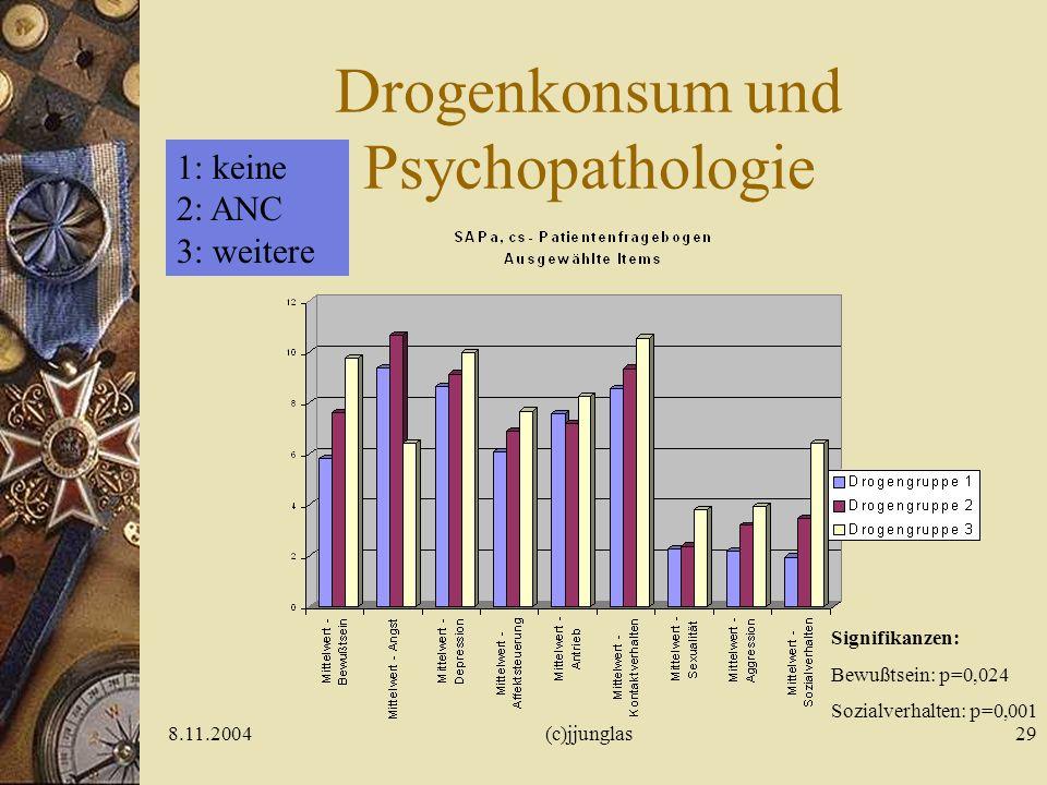 8.11.2004(c)jjunglas29 Drogenkonsum und Psychopathologie Signifikanzen: Bewußtsein: p=0,024 Sozialverhalten: p=0,001 1: keine 2: ANC 3: weitere