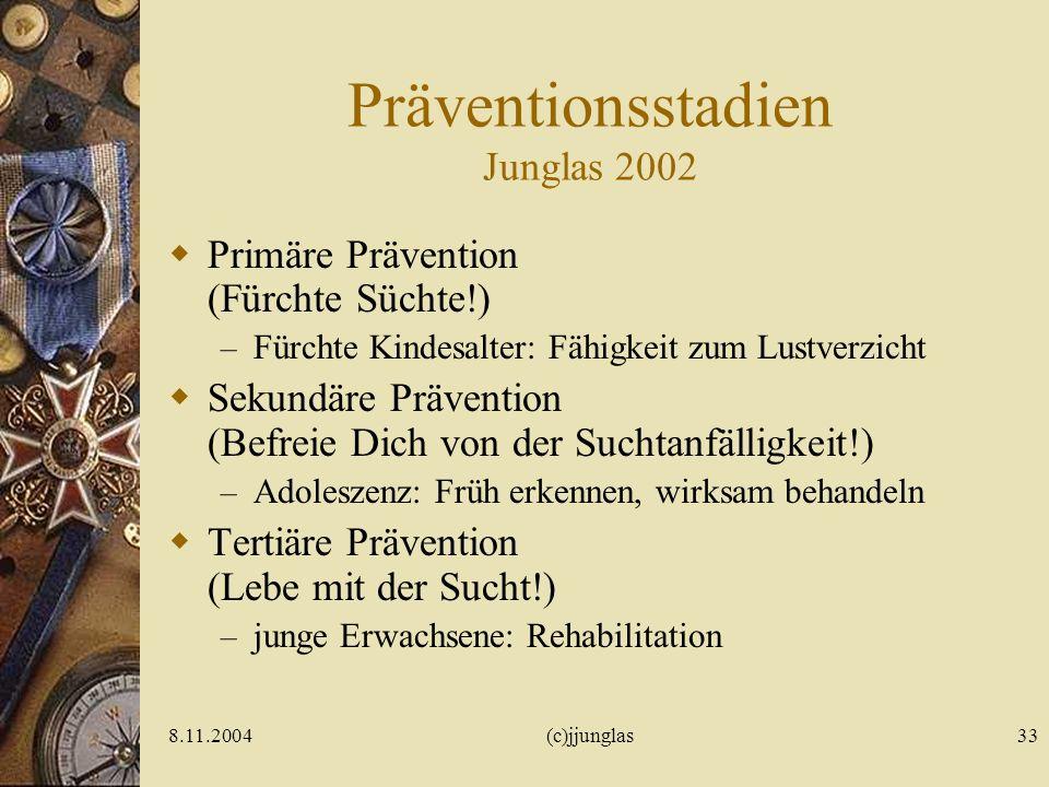 8.11.2004(c)jjunglas33 Präventionsstadien Junglas 2002 Primäre Prävention (Fürchte Süchte!) – Fürchte Kindesalter: Fähigkeit zum Lustverzicht Sekundäre Prävention (Befreie Dich von der Suchtanfälligkeit!) – Adoleszenz: Früh erkennen, wirksam behandeln Tertiäre Prävention (Lebe mit der Sucht!) – junge Erwachsene: Rehabilitation