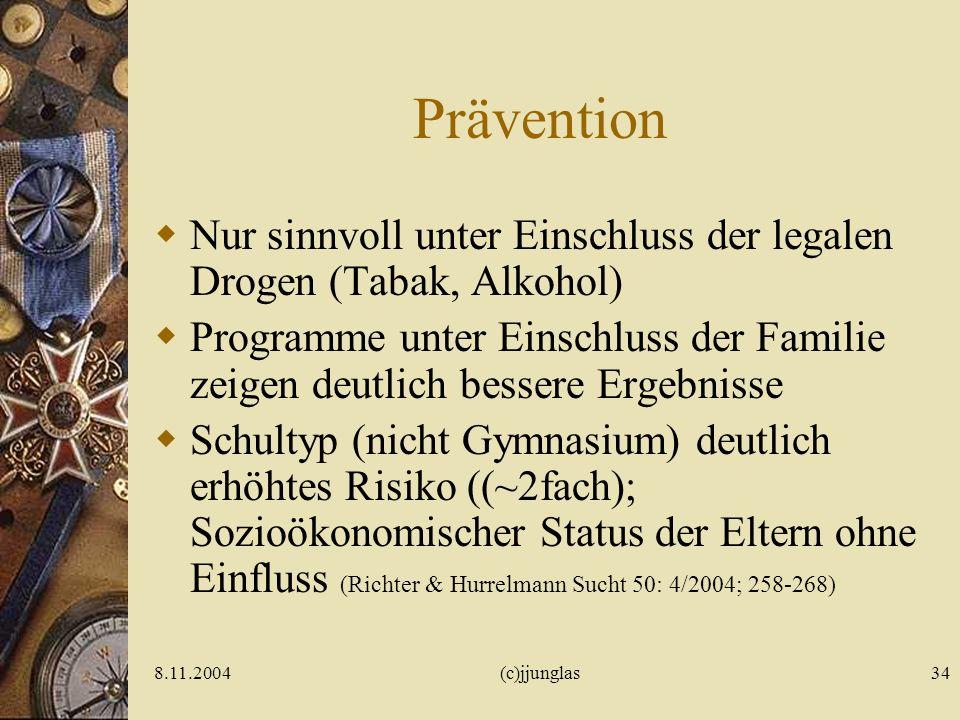 8.11.2004(c)jjunglas33 Präventionsstadien Junglas 2002 Primäre Prävention (Fürchte Süchte!) – Fürchte Kindesalter: Fähigkeit zum Lustverzicht Sekundär
