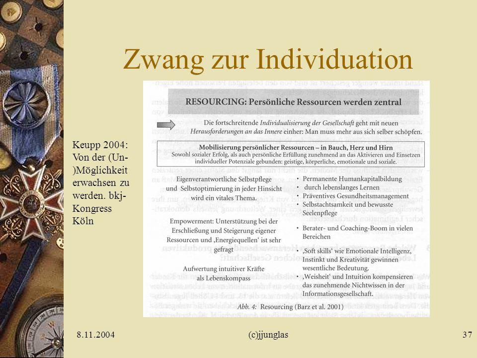 8.11.2004(c)jjunglas37 Zwang zur Individuation Keupp 2004: Von der (Un- )Möglichkeit erwachsen zu werden.