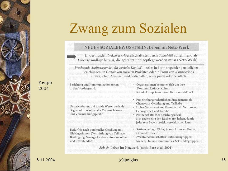 8.11.2004(c)jjunglas37 Zwang zur Individuation Keupp 2004: Von der (Un- )Möglichkeit erwachsen zu werden. bkj- Kongress Köln
