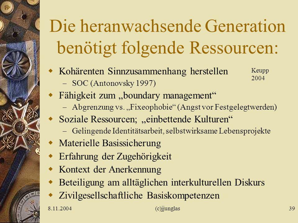 8.11.2004(c)jjunglas39 Die heranwachsende Generation benötigt folgende Ressourcen: Kohärenten Sinnzusammenhang herstellen – SOC (Antonovsky 1997) Fähigkeit zum boundary management – Abgrenzung vs.