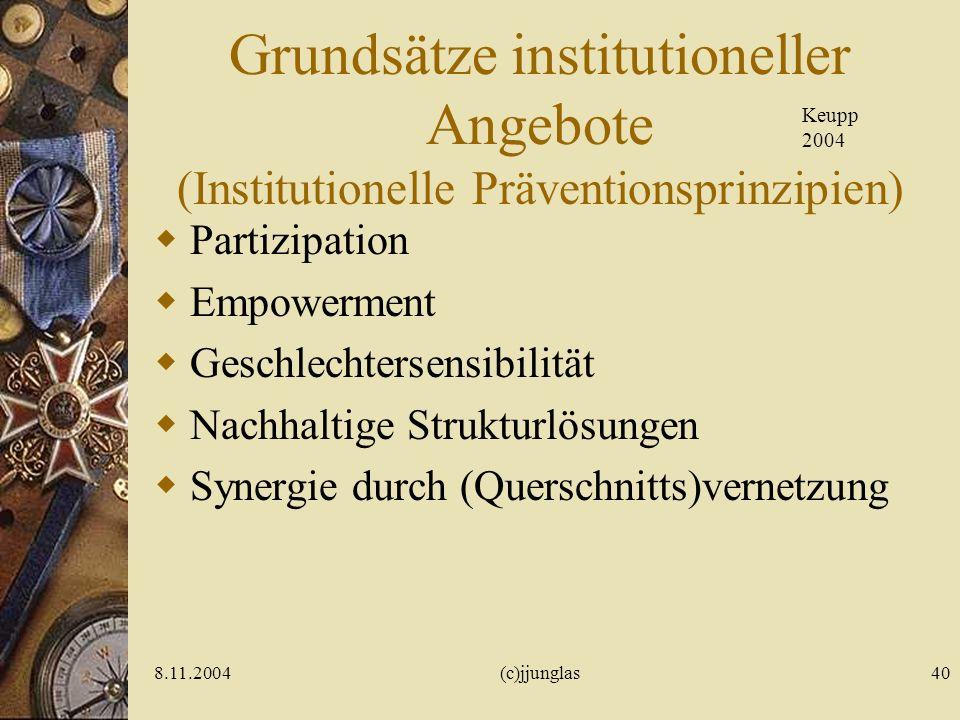 8.11.2004(c)jjunglas40 Grundsätze institutioneller Angebote (Institutionelle Präventionsprinzipien) Partizipation Empowerment Geschlechtersensibilität Nachhaltige Strukturlösungen Synergie durch (Querschnitts)vernetzung Keupp 2004