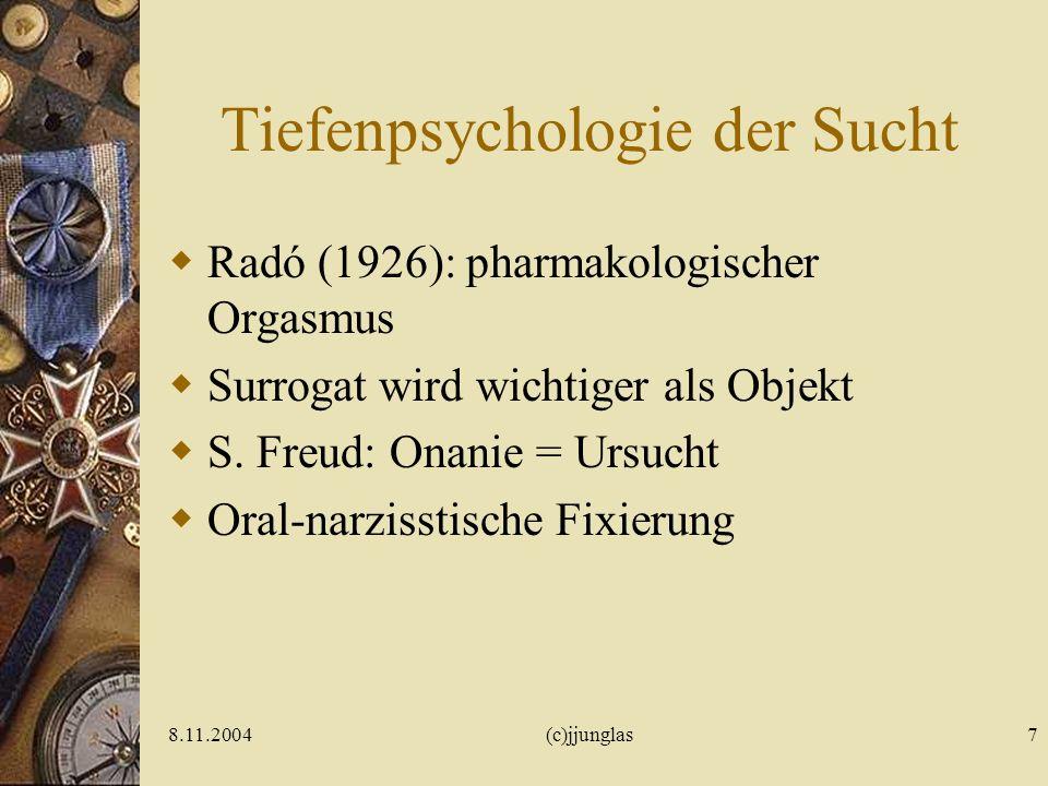 8.11.2004(c)jjunglas6 Suchtkonzepte Tiefenpsychologisch (Surrogat) Lerntheoretisch (Vorbild) Neurobiologisch (Drogen- /Suchtgedächtnis) Sozialanthropo