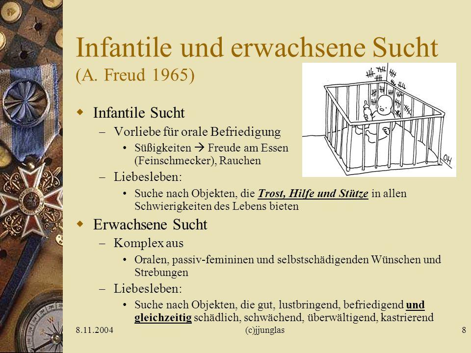 8.11.2004(c)jjunglas7 Tiefenpsychologie der Sucht Radó (1926): pharmakologischer Orgasmus Surrogat wird wichtiger als Objekt S. Freud: Onanie = Ursuch