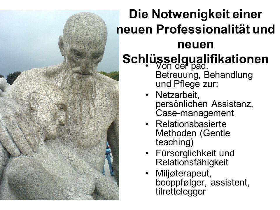 Die Notwenigkeit einer neuen Professionalität und neuen Schlüsselqualifikationen Von der päd. Betreuung, Behandlung und Pflege zur: Netzarbeit, persön