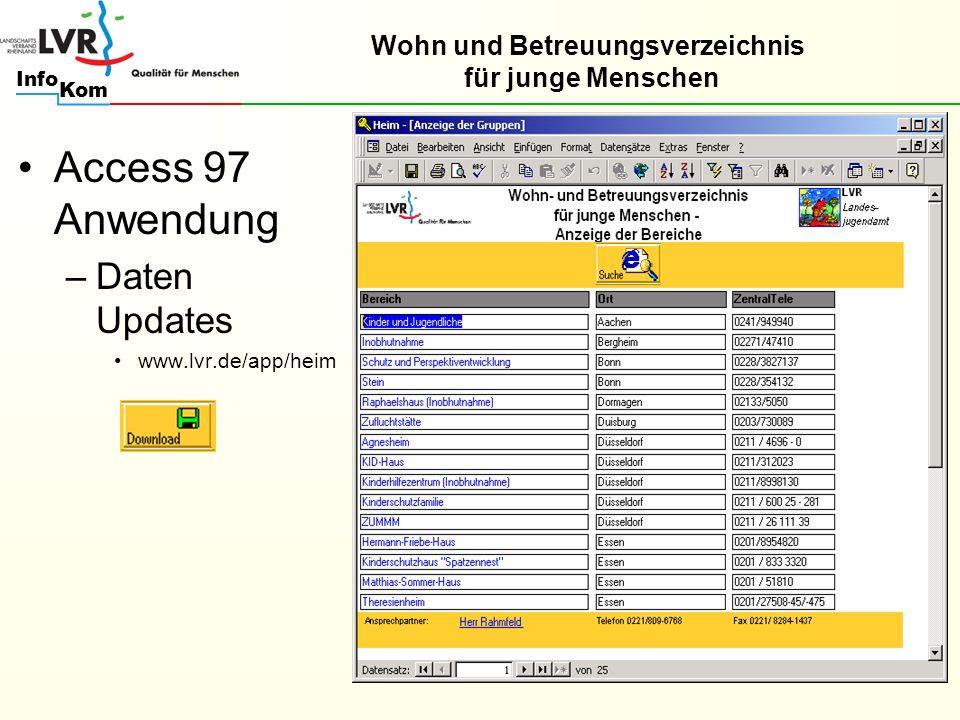 Kom Info Access 97 Anwendung –Daten Updates www.lvr.de/app/heim Wohn und Betreuungsverzeichnis für junge Menschen