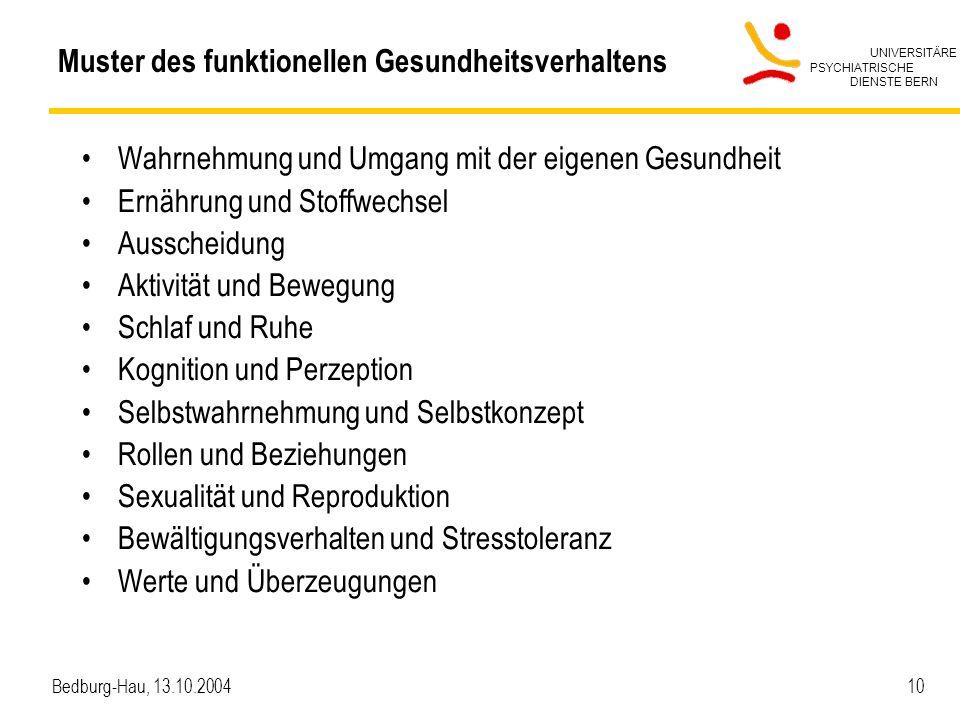 UNIVERSITÄRE PSYCHIATRISCHE DIENSTE BERN Bedburg-Hau, 13.10.2004 10 Muster des funktionellen Gesundheitsverhaltens Wahrnehmung und Umgang mit der eige