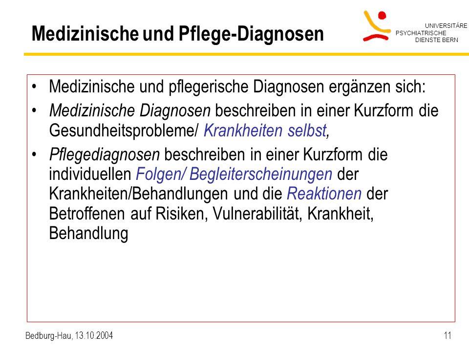 UNIVERSITÄRE PSYCHIATRISCHE DIENSTE BERN Bedburg-Hau, 13.10.2004 11 Medizinische und Pflege-Diagnosen Medizinische und pflegerische Diagnosen ergänzen sich: Medizinische Diagnosen beschreiben in einer Kurzform die Gesundheitsprobleme/ Krankheiten selbst, Pflegediagnosen beschreiben in einer Kurzform die individuellen Folgen/ Begleiterscheinungen der Krankheiten/Behandlungen und die Reaktionen der Betroffenen auf Risiken, Vulnerabilität, Krankheit, Behandlung