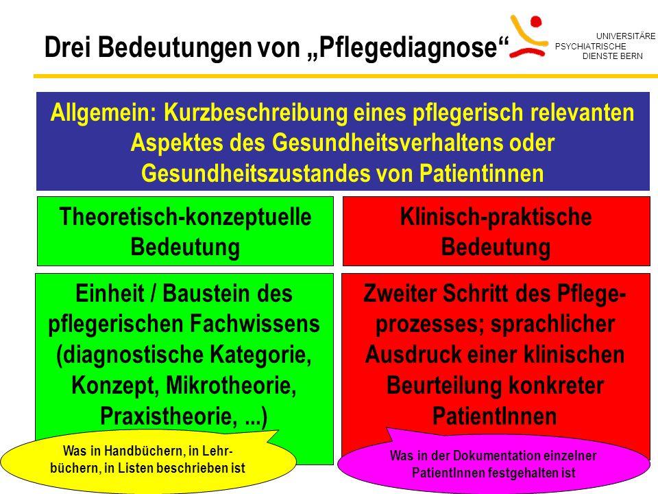 UNIVERSITÄRE PSYCHIATRISCHE DIENSTE BERN Bedburg-Hau, 13.10.2004 18 Drei Bedeutungen von Pflegediagnose Theoretisch-konzeptuelle Bedeutung Klinisch-pr