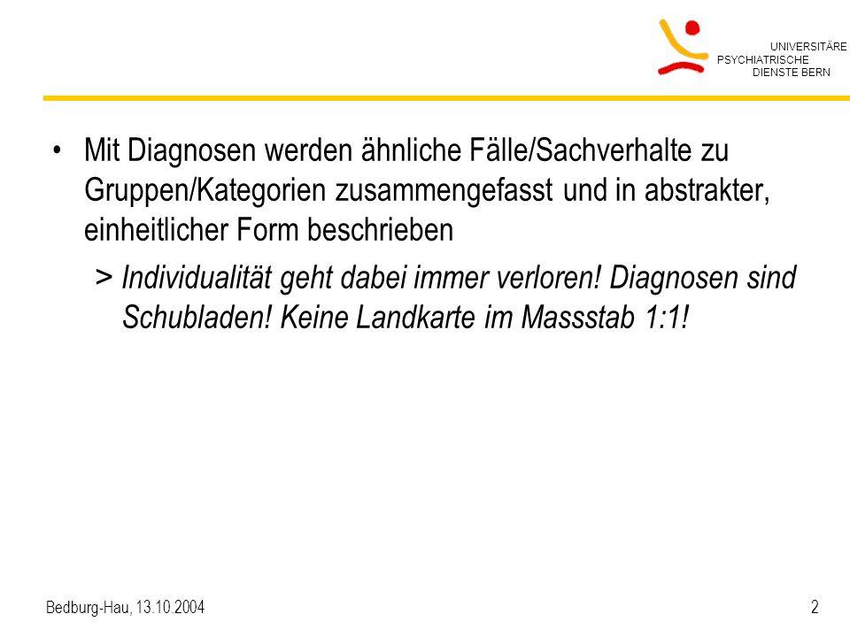 UNIVERSITÄRE PSYCHIATRISCHE DIENSTE BERN Bedburg-Hau, 13.10.2004 13 Interdisziplinärer Prozess Arzt/Ärztin Pflegeperson PatientIn SozialarbeiterIn Schizophrenie Arbeitslosigkeit Angst, wieder in die Klinik zu müssen