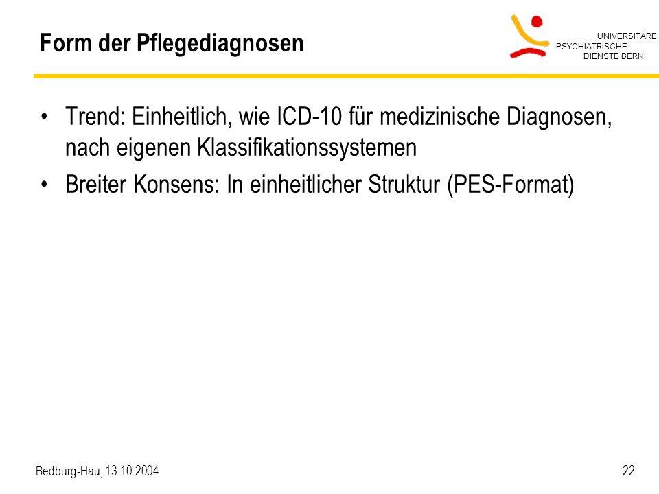 UNIVERSITÄRE PSYCHIATRISCHE DIENSTE BERN Bedburg-Hau, 13.10.2004 22 Form der Pflegediagnosen Trend: Einheitlich, wie ICD-10 für medizinische Diagnosen, nach eigenen Klassifikationssystemen Breiter Konsens: In einheitlicher Struktur (PES-Format)