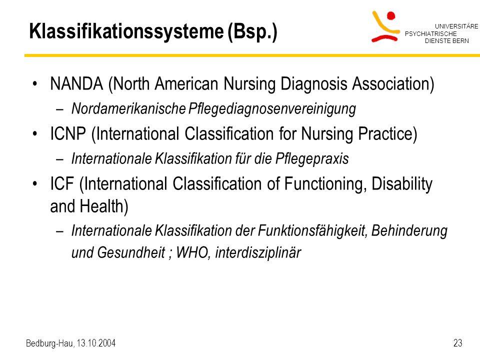 UNIVERSITÄRE PSYCHIATRISCHE DIENSTE BERN Bedburg-Hau, 13.10.2004 23 Klassifikationssysteme (Bsp.) NANDA (North American Nursing Diagnosis Association)