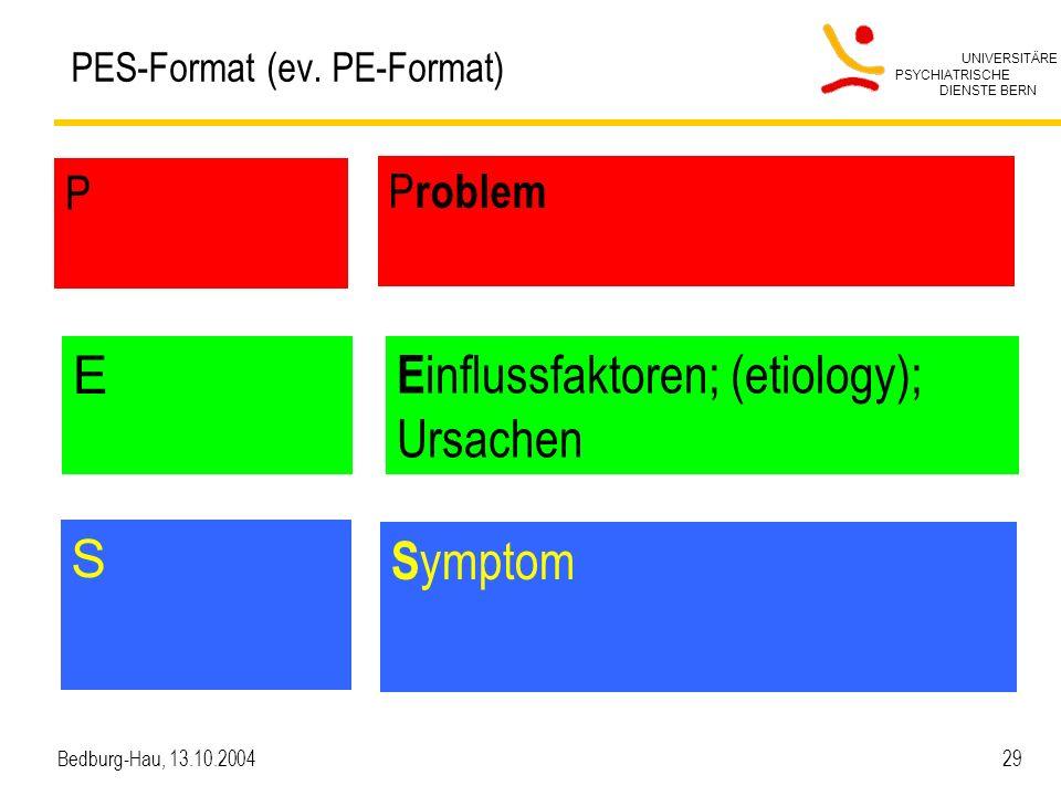 UNIVERSITÄRE PSYCHIATRISCHE DIENSTE BERN Bedburg-Hau, 13.10.2004 29 PES-Format (ev. PE-Format) P P roblem E S E influssfaktoren; (etiology); Ursachen