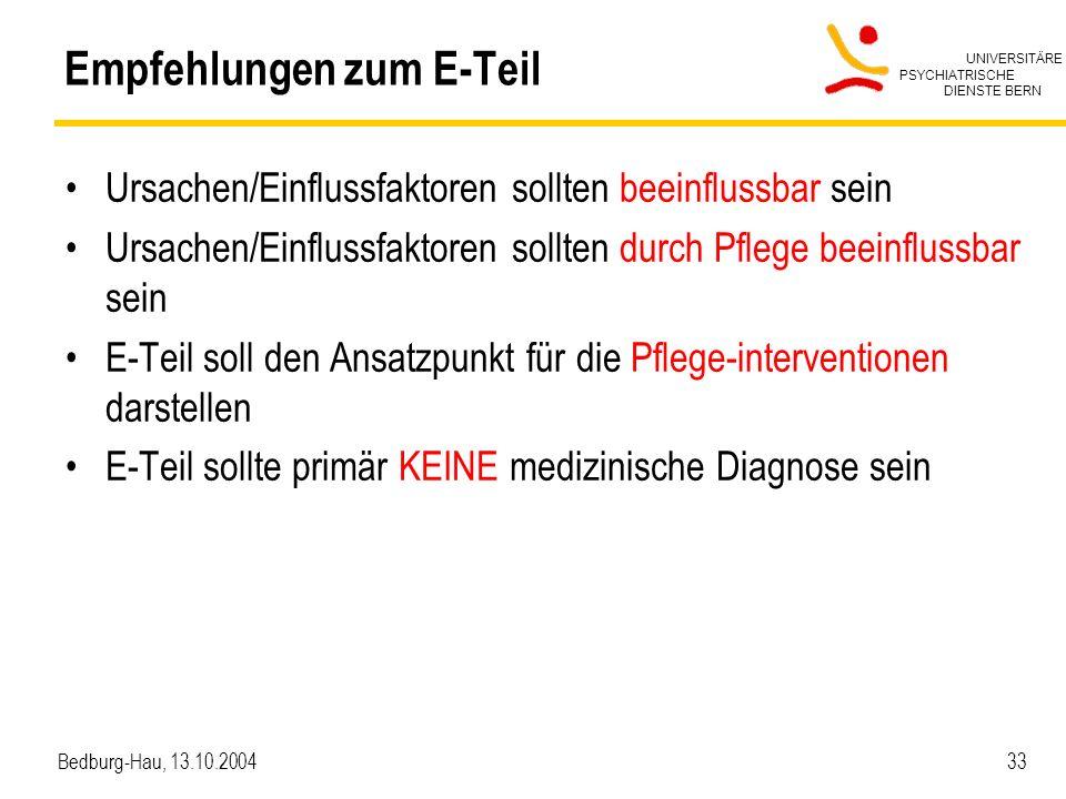 UNIVERSITÄRE PSYCHIATRISCHE DIENSTE BERN Bedburg-Hau, 13.10.2004 33 Empfehlungen zum E-Teil Ursachen/Einflussfaktoren sollten beeinflussbar sein Ursachen/Einflussfaktoren sollten durch Pflege beeinflussbar sein E-Teil soll den Ansatzpunkt für die Pflege-interventionen darstellen E-Teil sollte primär KEINE medizinische Diagnose sein
