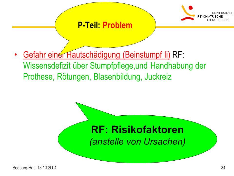UNIVERSITÄRE PSYCHIATRISCHE DIENSTE BERN Bedburg-Hau, 13.10.2004 34 Gefahr einer Hautschädigung (Beinstumpf li) RF: Wissensdefizit über Stumpfpflege,u