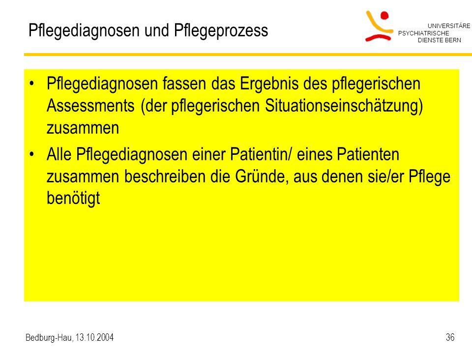 UNIVERSITÄRE PSYCHIATRISCHE DIENSTE BERN Bedburg-Hau, 13.10.2004 36 Pflegediagnosen und Pflegeprozess Pflegediagnosen fassen das Ergebnis des pflegeri