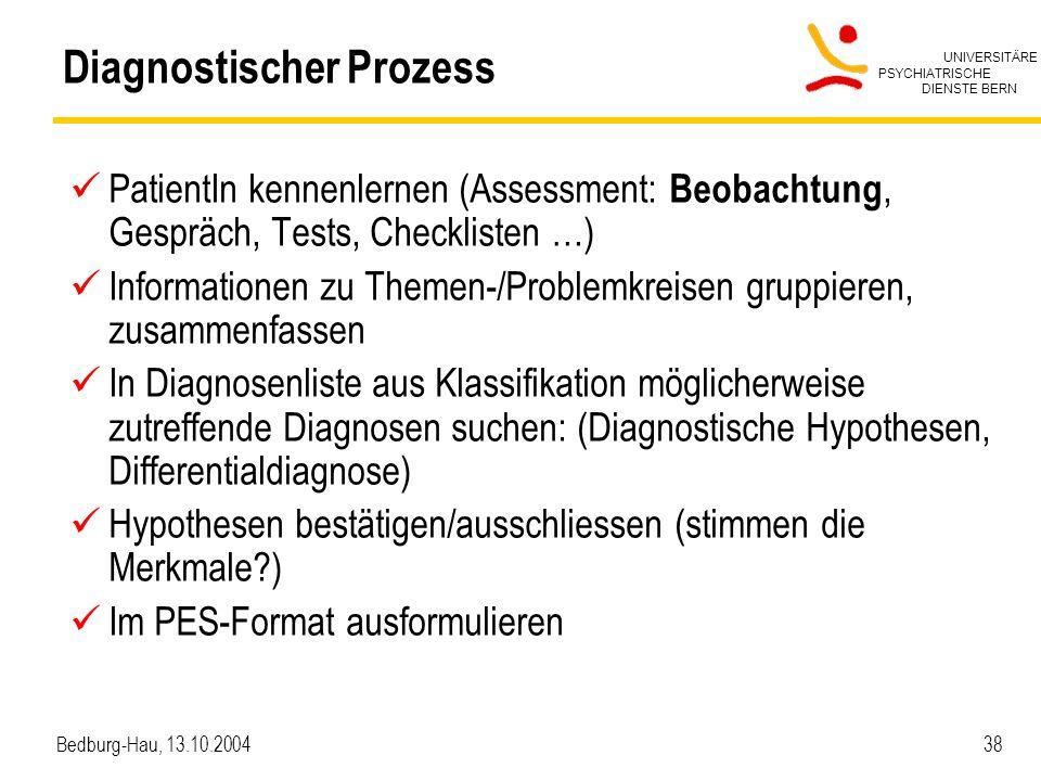 UNIVERSITÄRE PSYCHIATRISCHE DIENSTE BERN Bedburg-Hau, 13.10.2004 38 Diagnostischer Prozess PatientIn kennenlernen (Assessment: Beobachtung, Gespräch, Tests, Checklisten …) Informationen zu Themen-/Problemkreisen gruppieren, zusammenfassen In Diagnosenliste aus Klassifikation möglicherweise zutreffende Diagnosen suchen: (Diagnostische Hypothesen, Differentialdiagnose) Hypothesen bestätigen/ausschliessen (stimmen die Merkmale?) Im PES-Format ausformulieren