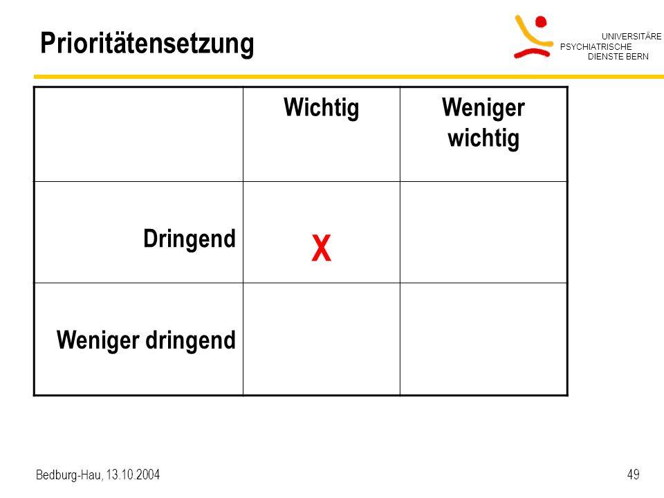 UNIVERSITÄRE PSYCHIATRISCHE DIENSTE BERN Bedburg-Hau, 13.10.2004 49 Prioritätensetzung WichtigWeniger wichtig Dringend X Weniger dringend