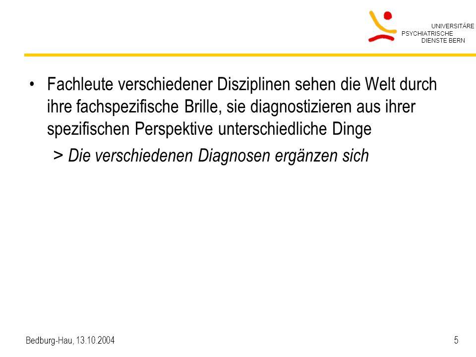 UNIVERSITÄRE PSYCHIATRISCHE DIENSTE BERN Bedburg-Hau, 13.10.2004 46 Integration in die Zusammenarbeit mit den PatientInnen Die PatientInnen über die Pflegediagnostik informieren – Wir formulieren hier für alle Patienten die Hauptprobleme, an denen wir arbeiten, wir nennen das die Pflegediagnosen Diagnosen möglichst schon während einem Assessment- gespräch stellen – Nach dem, was Sie mir jetzt erzählt haben, denke ich, dass es Sinn macht, dazu eine Pflegediagnose zu stellen.