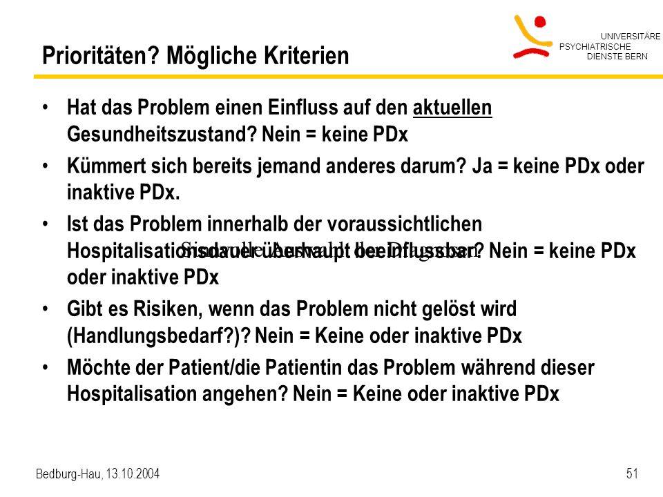 UNIVERSITÄRE PSYCHIATRISCHE DIENSTE BERN Bedburg-Hau, 13.10.2004 51 Prioritäten? Mögliche Kriterien Hat das Problem einen Einfluss auf den aktuellen G