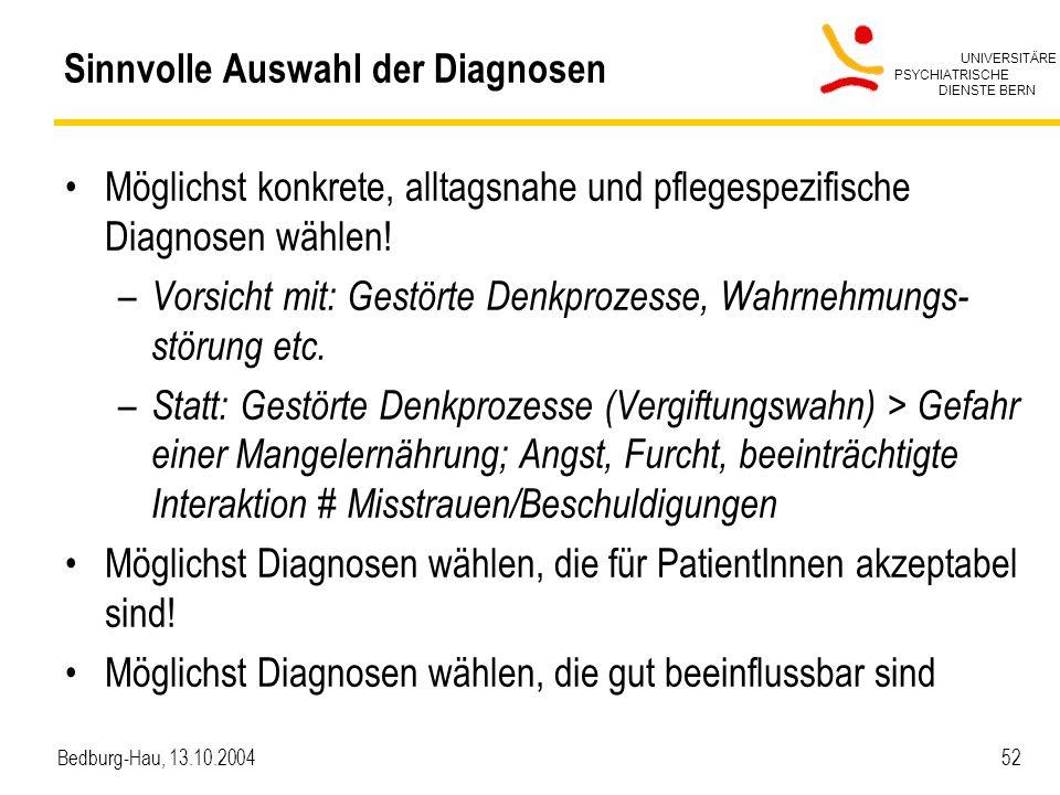 UNIVERSITÄRE PSYCHIATRISCHE DIENSTE BERN Bedburg-Hau, 13.10.2004 52 Sinnvolle Auswahl der Diagnosen Möglichst konkrete, alltagsnahe und pflegespezifis