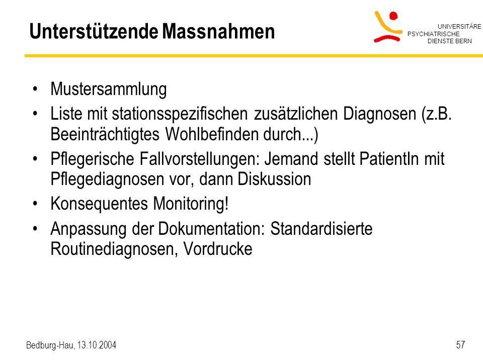 UNIVERSITÄRE PSYCHIATRISCHE DIENSTE BERN Bedburg-Hau, 13.10.2004 57 Unterstützende Massnahmen Mustersammlung Liste mit stationsspezifischen zusätzlichen Diagnosen (z.B.