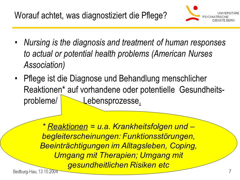 UNIVERSITÄRE PSYCHIATRISCHE DIENSTE BERN Bedburg-Hau, 13.10.2004 8 Gesundheit (WHO-ICF) Körperfunktionen (Schädigungen) Aktivitäten (A-Einschränkungen) Partizipation (P-Einschränkungen) Umwelt- faktoren Persönliche Faktoren Körperliche und geistig-seelische Verfassung (Störung/Krankheit) Wie wirkt sich die Verfassung/Krankheit aus … auf alltägliche Funktionen .