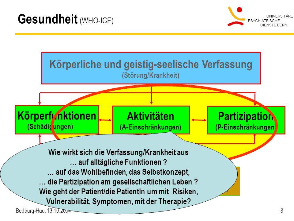 UNIVERSITÄRE PSYCHIATRISCHE DIENSTE BERN Bedburg-Hau, 13.10.2004 8 Gesundheit (WHO-ICF) Körperfunktionen (Schädigungen) Aktivitäten (A-Einschränkungen
