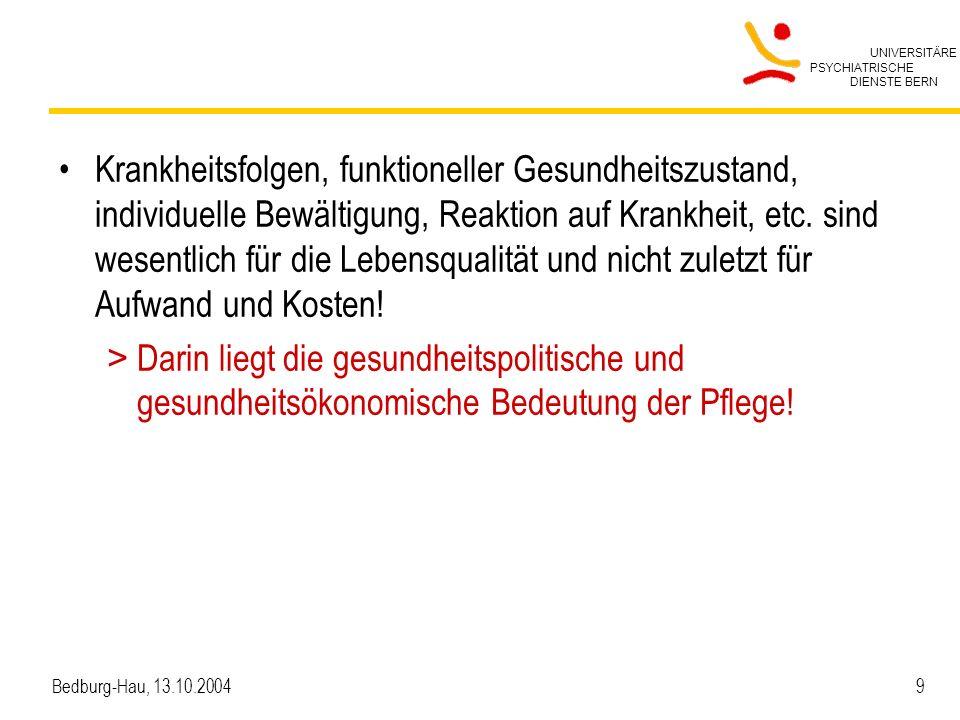 UNIVERSITÄRE PSYCHIATRISCHE DIENSTE BERN Bedburg-Hau, 13.10.2004 20 Theoretisch geklärte/beschriebene Pflegediagnosen.....