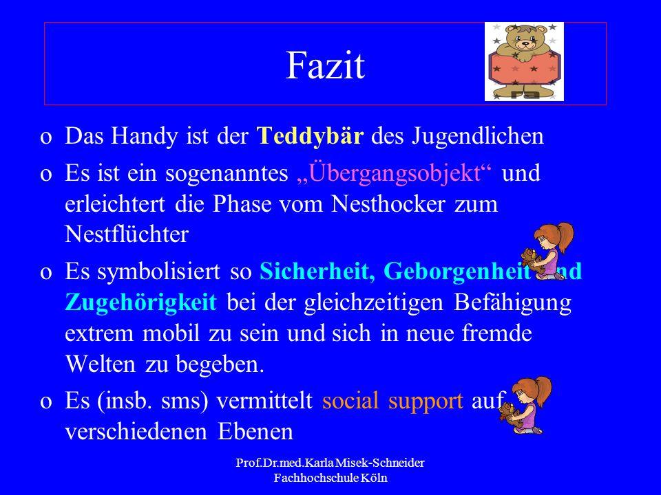 Prof.Dr.med.Karla Misek-Schneider Fachhochschule Köln Motive der Handy-Nutzung (Timm 2001, Schilling 2004) JUNGEN 1. Verabredungen treffen 2. Kontakt
