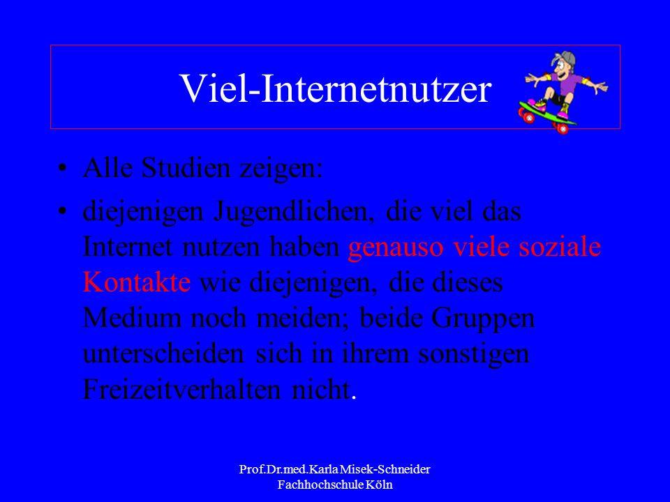 Prof.Dr.med.Karla Misek-Schneider Fachhochschule Köln Internetnutzung Jugendliche (JIM 2002) 83% aller Jugendlichen haben Erfahrung mit dem Internet M